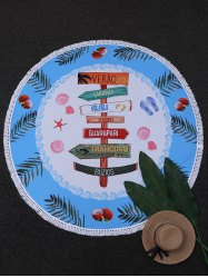 Round Fingerpost Print Beach Throw