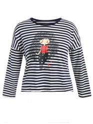 Plus Size Striped Girl Graphic T-Shirt