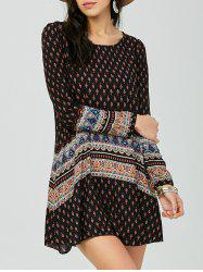 Long Sleeve Print Bohemian Tunic Dress