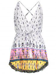 Sexy Plunging Neck Floral Printed Drawstring Dress For Women - WHITE M