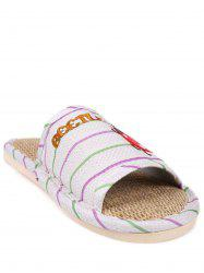 Insect Striped Jute Insert Indoor Slippers - GREEN
