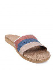 Jute Panel House Color Block Slippers