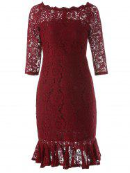Boat Neck Mini Lace Tight Fishtail Dress - WINE RED