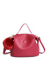 Slouchy Handbag with Removable Pompon