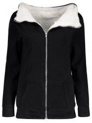 Casual Hooded Long Sleeve Flocky Zippered Pocket Design Women's Coat - BLACK