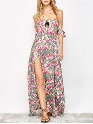 Maxi Bandeau Floral Beach Dress with Slit -