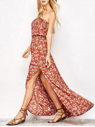 Floral Print Tube Bandeau Maxi Dress