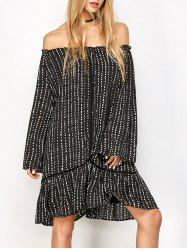 Off Shoulder Printed Tunic Dress