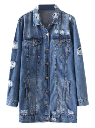Distressed Denim Coat - DENIM BLUE