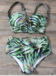 Lace Up High Waist Printed Bikini Set - GREEN