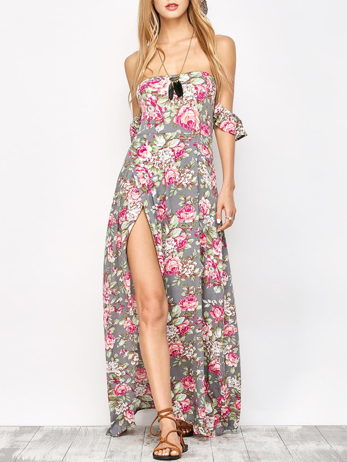 Chic Maxi Bandeau Floral Beach Dress with Slit