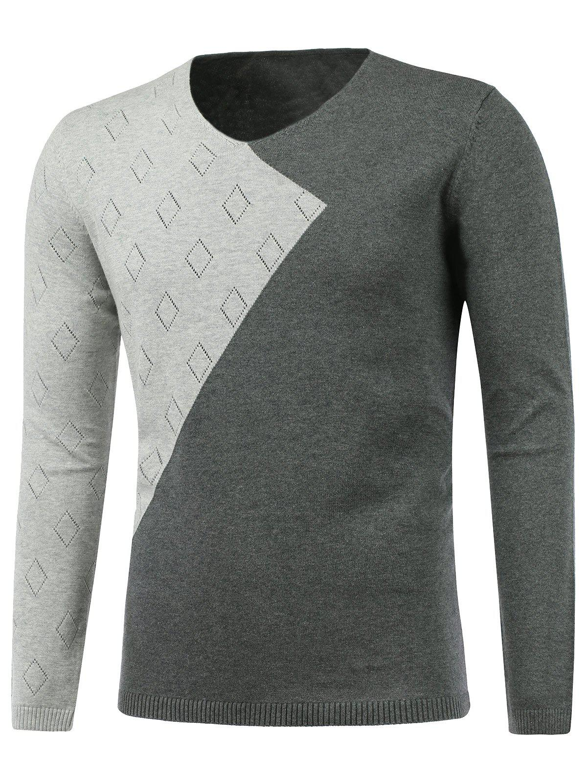 Fancy Rhombus Pattern V Neck Two Tone Sweater