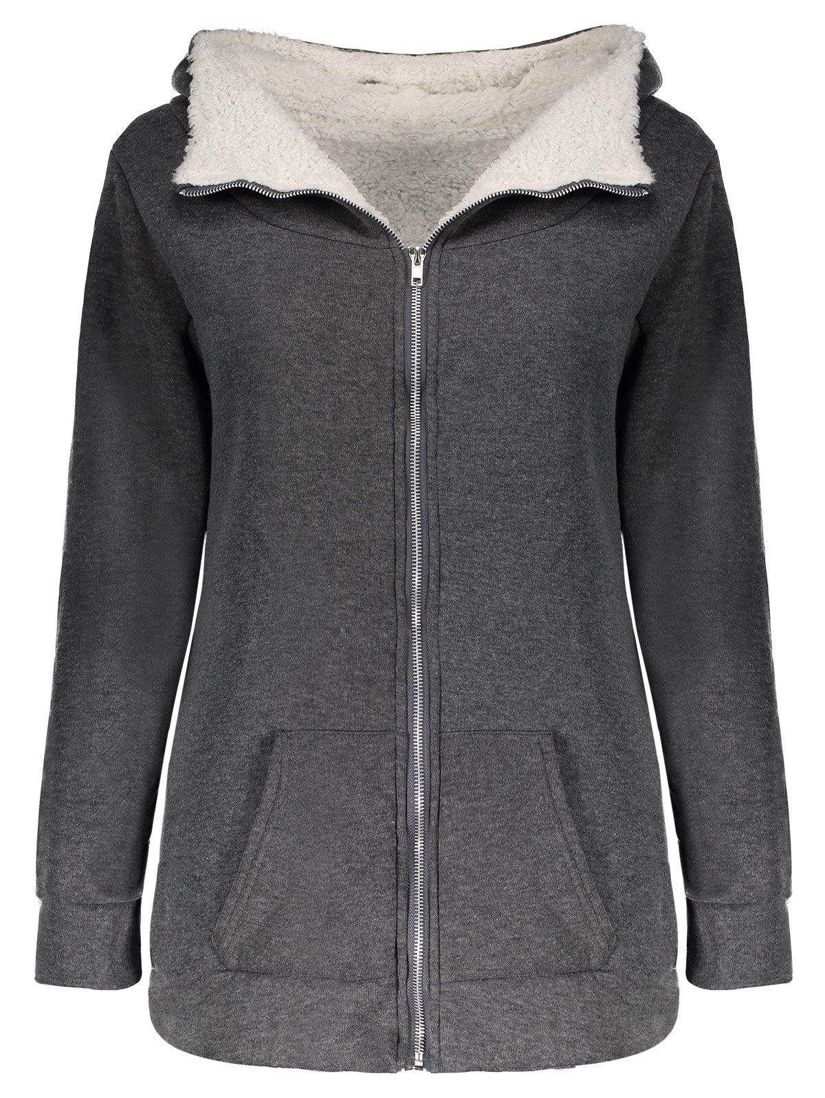 Casual Hooded Long Sleeve Flocky Zippered Pocket Design Womens CoatWOMEN<br><br>Size: ONE SIZE(FIT SIZE XS TO M); Color: GRAY; Material: Cotton,Polyester; Type: Wide-waisted; Shirt Length: Long; Sleeve Length: Full; Collar: Hooded; Pattern Type: Patchwork; Embellishment: Pockets; Style: Casual; Weight: 0.391KG; Package Contents: 1 x Coat;