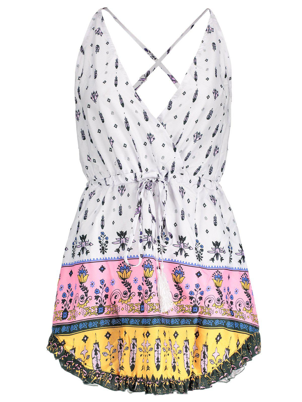 Unique Sexy Plunging Neck Floral Printed Drawstring Dress For Women