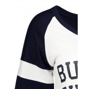 Panel Football Letter High Low T-Shirt - PURPLISHBLUE + WHITE XL