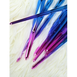 10 Pcs Ombre Fiber Makeup Brushes Set - BLUE