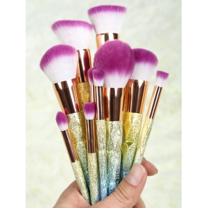 Ombre Glitter Makeup Brushes Set - Rose Gold