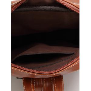 Faux Leather Stitching Backpack -
