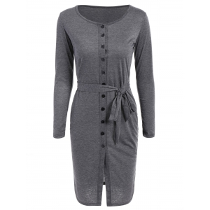 Long Sleeve Belted Button Down Pencil Dress - Deep Gray - M