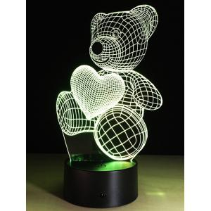 Valentine Gift 3D Illusion Color Changing Bear LED Touch Night Light - COLORFUL