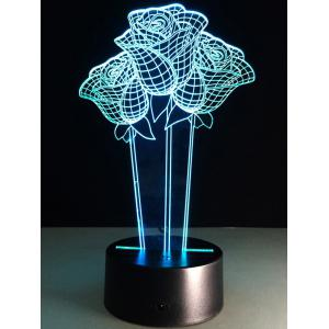 3D Rose Flower Color Changing LED Night Light For Valentine Day -