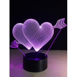 Valentine Day Gift 3D Arrow Through Heart Colorful Touch Night Light -