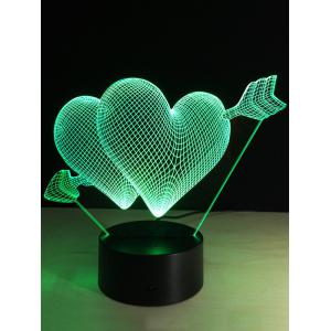 Valentine Day Gift 3D Arrow Through Heart Colorful Touch Night Light - COLORFUL
