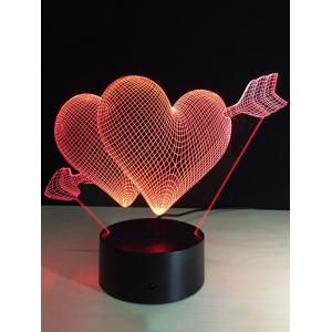 Valentine Day Gift 3D Arrow Through Heart Colorful Touch Night Light