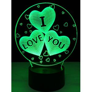 Colorful Valentine Birthday Gift 3D Visual Colorful LED Touch Night Light - COLORFUL