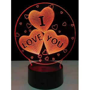 Colorful Valentine Birthday Gift 3D Visual Colorful LED Touch Night Light -