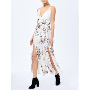 Criss Cross High Slit Maxi Floral Flowy Jumpsuit - White - S