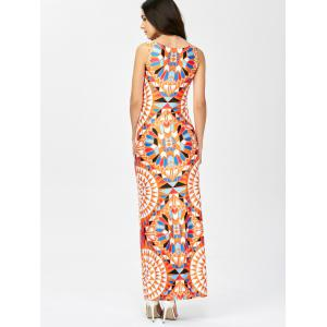 Geometric Print Maxi Dress - ORANGE M