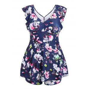 Plus Size Floral Print Padded One Piece Swimsuit