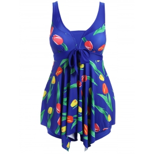 Plus Size Wire Free Tulip Print Cutout Skirted Swimwear
