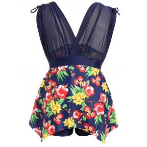 Plus Size Floral Mesh Insert Tankini Swimsuits -