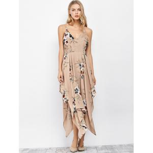 Cami Floral Backless Long Handkerchief Dress - APRICOT S