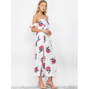Maxi Off The Shoulder Floral Print Cocktail Dress - WHITE L