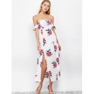 Maxi Floral Backless Off Shoulder Slit Dress - WHITE L
