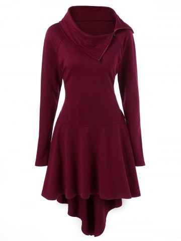 Hot Lace-Up High Low Hem Mini Dress - L DEEP RED Mobile