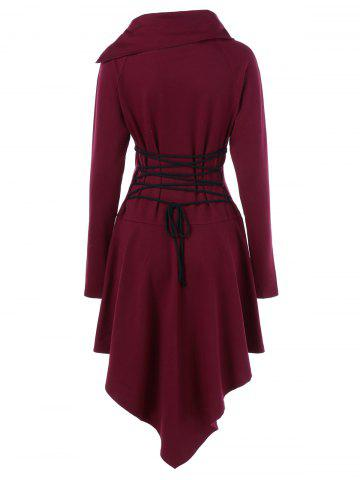 Discount Lace-Up High Low Hem Mini Dress - XL DEEP RED Mobile