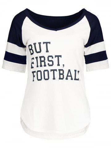 Outfits Panel Football Letter High Low T-Shirt PURPLISHBLUE + WHITE M