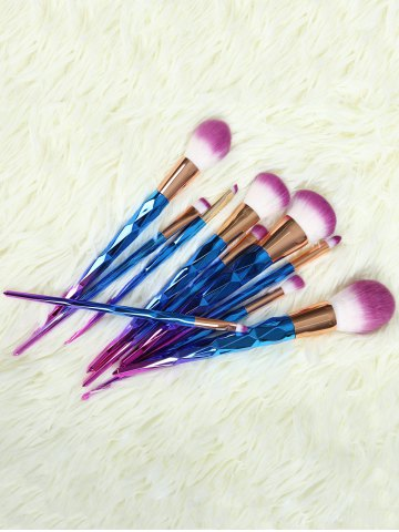 Shop 10 Pcs Ombre Fiber Makeup Brushes Set BLUE