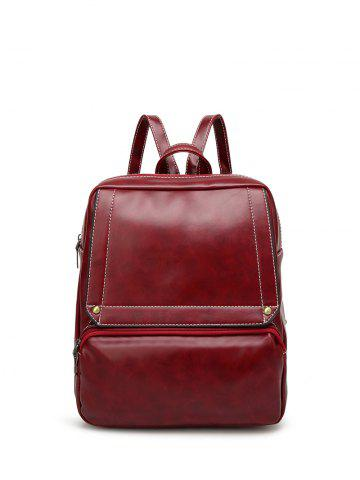 Chic Faux Leather Stitching Backpack