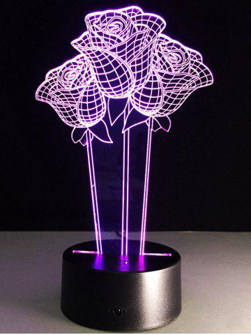 Outfits 3D Rose Flower Color Changing LED Night Light For Valentine Day - COLORFUL  Mobile