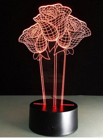 3D Rose Flower Color Changing LED Night Light For Valentine Day - Colorful