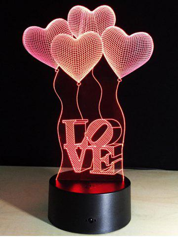 Chic 7 Color Changing Heart Balloon LED Night Light For Valentine Day COLORFUL