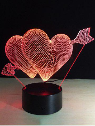 Latest Valentine Day Gift 3D Arrow Through Heart Colorful Touch Night Light COLORFUL