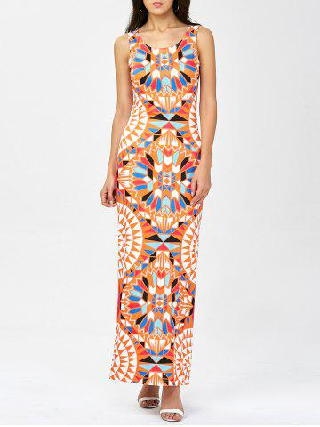 Hot Geometric Print Maxi Sheath Dress ORANGE M