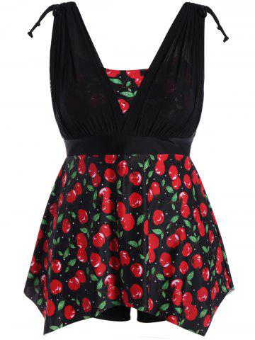 Plus Size Cherry Print Wire Free Tankini Set - Black And Red - 2xl