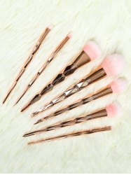 7 Pcs Rhombus Handle Makeup Brushes Set - ROSE GOLD